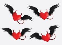 Devil hearts set Stock Images