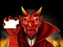 Devil Holding Sign Royalty Free Stock Photo