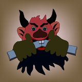 Devil with horns gnaws the wooden stick on a light. Background Royalty Free Stock Photography