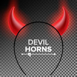 Devil Horns Vector. Head Gear. Red Luminous Horn. Halloween Evil Horns Sign, Icon. Isolated On Transparent Background Royalty Free Stock Photography