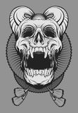 Devil Joker Skull. This image illustrated from a joker figure with have large circle collar that exist in European middle ages. Sometimes it`s looks funny but it stock illustration