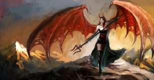 Devil lady. In cold hell Royalty Free Stock Photo