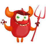 Devil laughing and holding a trident. Vector illustration with simple gradients. Royalty Free Stock Image