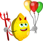 Devil lemon with balloons Stock Photos