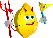 Devil lemon sports fan with flag Stock Photography