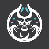 Skull Halloween sign stock illustration