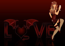 Devil love girl Royalty Free Stock Photography