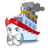 Devil luxury character ship sailing to port stock illustration