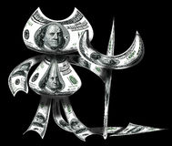 Devil made from dollars Stock Images