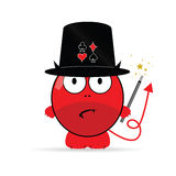 Devil magician vector illustration. In red color on white Royalty Free Stock Photography