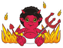Devil and many fire around. Red demon sit with trident on his hand around a fire Stock Photo