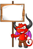 Devil Mascot - Holding Sign Stock Photography