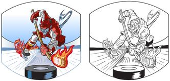 Devil Mascot Playing Ice Hockey Vector Cartoon. Vector cartoon clip art illustration of a devil mascot in uniform playing ice hockey, leaving a trail of fire Royalty Free Stock Photo