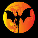Devil Moon. Halloween illustration with a devil against a red moon Stock Photo