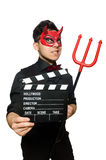 Devil with movie board isolated Royalty Free Stock Photo