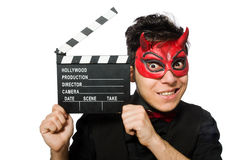 Devil with movie board isolated Stock Images