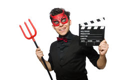 Devil with movie board isolated Royalty Free Stock Photos