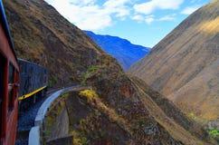 The devil nose train ride, Ecuador. An exciting tryp in the devil nose train in Riobamba stock image