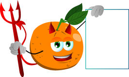 Devil orange with blank board Royalty Free Stock Images