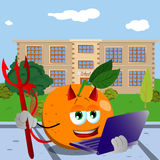 Devil orange holding laptop in front of a school Stock Images