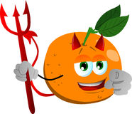 Devil orange pointing at viewer Royalty Free Stock Images