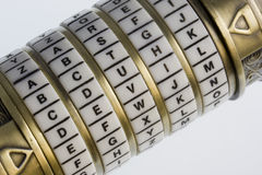 Devil - a password set on a combination puzzle box Stock Image
