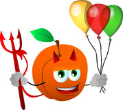 Devil peach with balloons Royalty Free Stock Photography