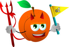 Devil peach sports fan with flag Stock Image