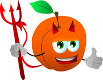 Devil peach with thumb up Royalty Free Stock Photos