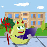 Devil pear holding laptop in front of a school Royalty Free Stock Photography