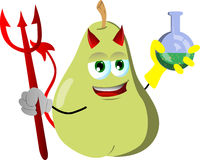 Devil pear holds beaker of chemicals Royalty Free Stock Photo