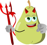 Devil pear pointing at viewer Royalty Free Stock Images