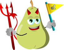 Devil pear sports fan with flag Stock Image