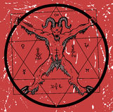Devil with pentagram on red textured background Royalty Free Stock Images