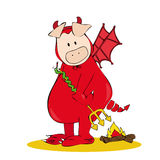 Devil Pig. Royalty Free Stock Photo
