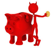 Devil with piggybank. Isolated on white Stock Photo