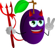 Devil plum gesturing the peace sign Royalty Free Stock Image