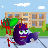 Devil plum holding laptop in front of a school Royalty Free Stock Image