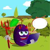 Devil plum holding laptop on a meadow Stock Image