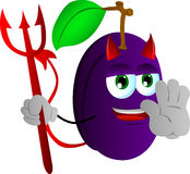 Devil plum holding a stop sign Royalty Free Stock Image