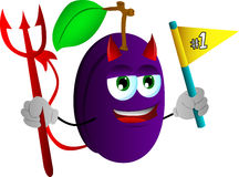 Devil plum sports fan with flag Stock Images