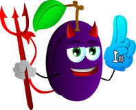 Devil plum sports fan with glove Royalty Free Stock Image
