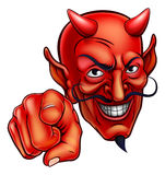 Devil Pointing. An evil looking devil character pointing at the viewer stock illustration