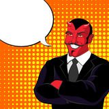Devil pop art. Red horned demonl and text bubble. Satan laughs. Stock Images