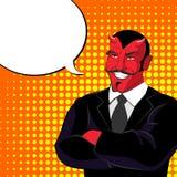 Devil pop art. Red horned demonl and text bubble. Satan laughs. Stock Images