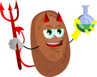 Devil potato holds beaker of chemicals Royalty Free Stock Photography