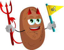 Devil potato sports fan with flag Stock Photo