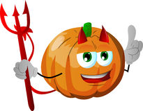 Devil pumpkin with attitude Royalty Free Stock Photo