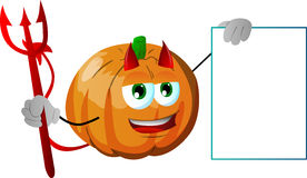 Devil pumpkin with blank board Royalty Free Stock Photos