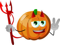 Devil pumpkin gesturing the peace sign Royalty Free Stock Photos